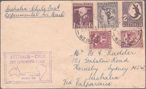 AUSTRALIA 1951 scarce experimental flight cover Sydney to Valparaiso Chile...451