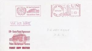 UN - SWISS POSTAL AGREEMENT - First Day of Meter 1969