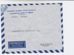 Greece 1954  commercial bank   airmail stamps cover to bremen germany  r19733