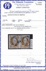1b Pair VF used neat blue cancels PF cert nice color scv $ 2050 ! see pic !