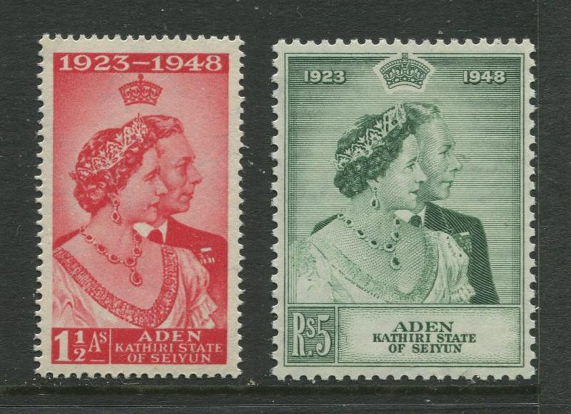 Aden - Scott 14-15 -  Silver Wedding Issue-1948 - MNH - Set of 2 Stamps