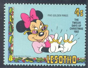 Disney; Minnie Mouse with Five Golden Rings, Christmas, 1982 Lesotho, Scott #385