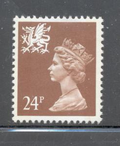 GB Wales SC WMMH45 1991 24p brown Machin Head stamp NH