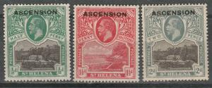 ASCENSION 1922 KGV GOVERNMENT HOUSE 1/2D 11/2D AND 2D */**