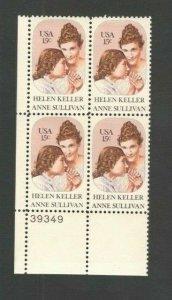 1824 Helen Keller & Anne Sullivan Plate Block Mint/nh FREE SHIPPING