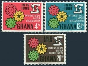 Ghana 375-377,377a,MNH.Michel 386-388,Bl.37. ILO 50th Ann.1970.Cogwheels.