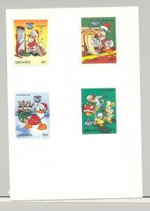 Grenada #1242-1244, 1246 Disney Christmas 4v Imperf Proofs on Card