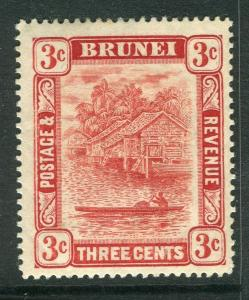 BRUNEI; 1908 early River View issue fine Mint hinged 3c. value