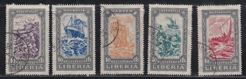 Liberia # F30-34, Registered, Ships, Boats, Used CTO