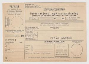 Norway: 1930s vintage postal form Parcel Post Service