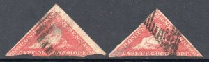 Cape of Good Hope 1d triangle x2 different shades used CV £625 as cheapest two