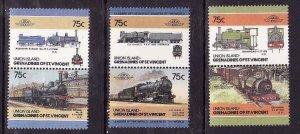 Union Is-Grenadines of St Vincent-Sc#39-41- id5-unused NH set-Trains-Locomotives
