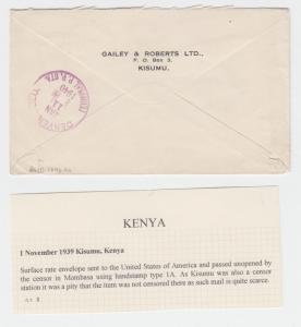 KUT (KISUMU)-USA 1939 CENSOR (#2) COVER 30c RATE(SEE BELOW)