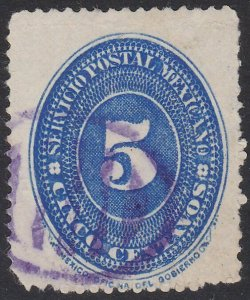 MEXICO 5c with purple barred oval mute cancel...............................F859