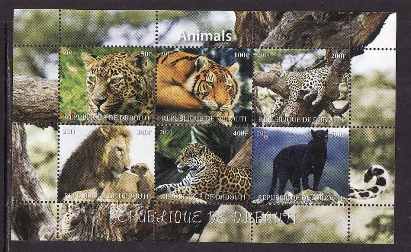 D2-Djibouti-unused NH sheet of 6-Animals-Tigers-Cats-Lions-2012-issue