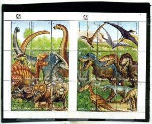 GHANA 1995 PREHISTORIC ANIMALS 2 SHEETS OF 9 STAMPS MNH
