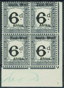 SOUTH WEST AFRICA 1923 POSTAGE DUE 6D MNH ** BLOCK SETTING I LONDON PRINT