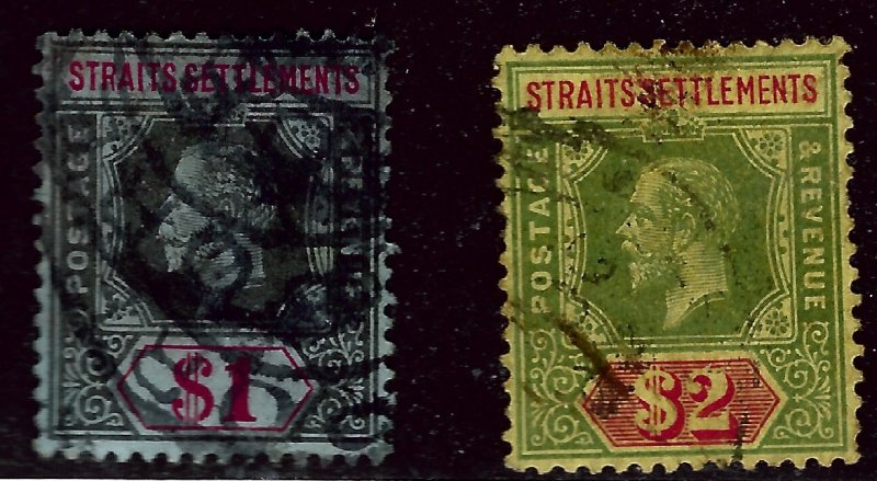 Straits Settlement SC#165-166 Used faulty F-VF...fill a tough spot...