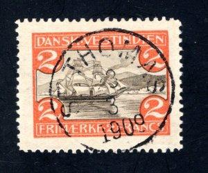 Danish West Indies #38,  VF,  Used, St. Thomas SON cancel, CV $55.00 ....1630038