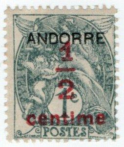 (I.B) Andorra Postal : Andorre ½c on 1c OP