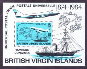 Virgin Islands 470 MNH 1984 UPU Congress Mail Boat & Jet Souvenir Sheet