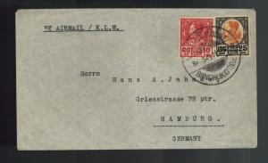 1937 Bangkok Thailand cover toHamburg Germany via KLM Airlines Airmail