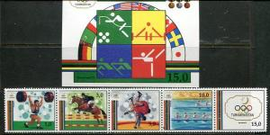 TURKMENISTAN 1992 BARCELONA OLYMPIC GAMES - HORSE SET AND SHEET - $20.25 VALUE!