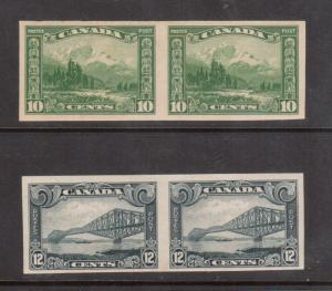 Canada #155a - #156a Very Fine Mint Imperf Pair Duo