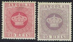 ANGOLA 1881 CROWN 20R AND 25R