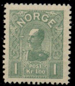 NORWAY #64, 1kr yellow green, Die A, fresh og, very light thin, XF, Scott $70.00