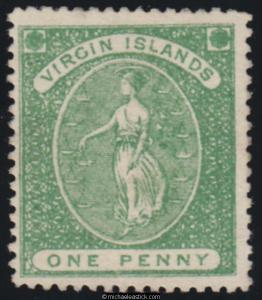 1868 British Virgin Islands 1d Yellow-Green, SG 8, MH