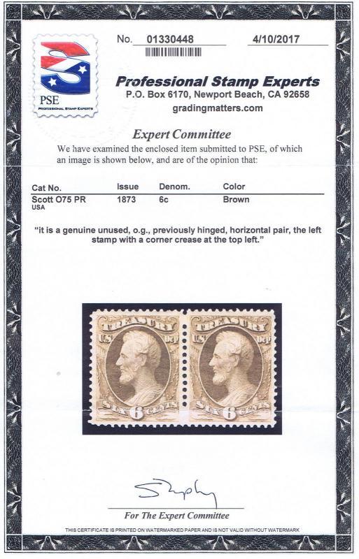 SC# O75 PAIR UNUSED OG PH 6c TREASURY OFFICIAL STAMPS, 1873, PSE CERT GEM