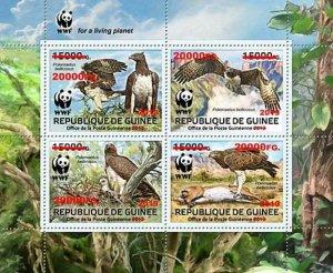 Guinea - 2019 Birds of Prey WWF Ovpt - 4 Stamp Sheet - GU190122a1