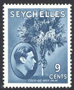Seychelles Sc# 131 MH 1945 9c peacock blue King George VI