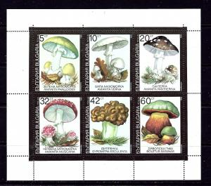 Bulgaria 3602a MNH 1991 Mushrooms sheet of 6