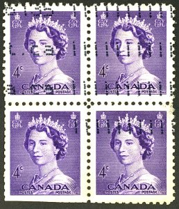 CANADA #328 USED BLOCK OF 4