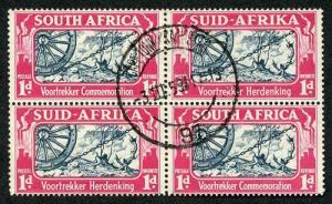 South Africa SG80/81 1938 Voortrekker 1d Block of Four