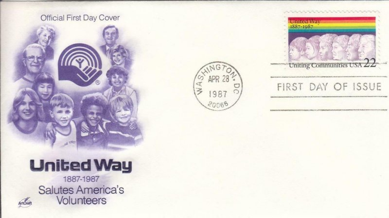 1987, United Way, Artcraft, FDC (D14864)