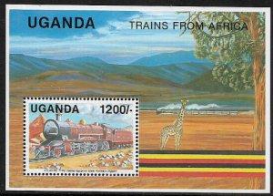 Uganda #885 MNH S/Sheet - African Trains