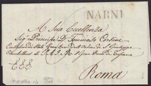 ITALY 1842 folded letter straight line NARNI to Rome........................6775