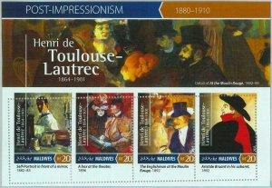 A0998 - MALDIVES, ERROR, MISPERF, Miniature sheet: 2015 de Toulouse-Lautrec, Art