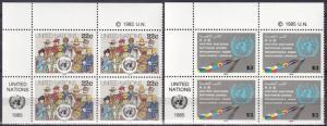 United Nations #445-6  MNH  Inscription Blocks CV $17.75  (A18620)