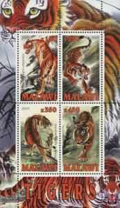 Malawi Tiger Wild Animal Souvenir Sheet of 4 Stamps Mint NH
