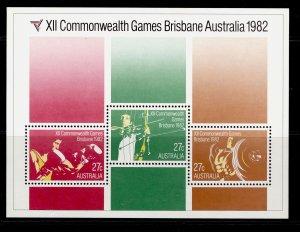 AUSTRALIA QEII SG MS863, 1982 commonwealth games mini sheet, NH MINT.
