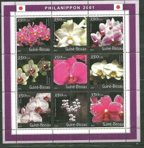 Guinea-Bissau MNH S/S Orchids Flowers 2001 9 Stamps
