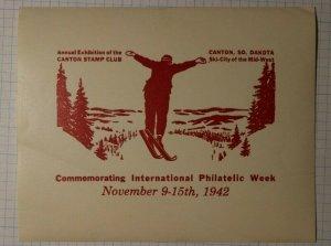 Canton Stamp Club Exhibition S. Dakota 1942 Snow Ski Philatelic Souvenir Label