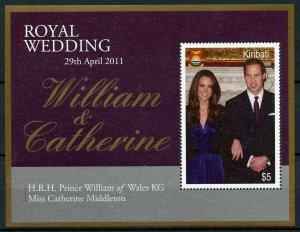 Kiribati 2011 MNH Royal Wedding Prince William & Kate 1v M/S Royalty Stamps