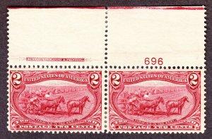 US 286 2c Trans-Mississippi Plate #696 Inscription Pair VF OG H SCV $60