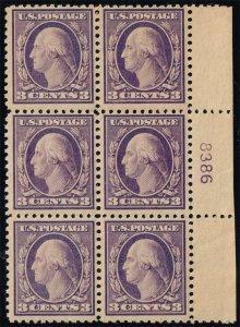 US #502 George Washington P# Block of 6; MNH (3Stars)