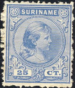 SURINAM - 1893 - Mi.33 25c ultramarine Mint Never Hinged